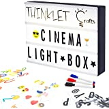 Thinklet Crafts - DIY Cinema LED Light Box with 271 Letters, Numbers, Emojis, 3 Erasable Markers & 10 Drawing Tiles - Cinematic Light box A4 Size   Easy to Customise Light Up Marquee Sign