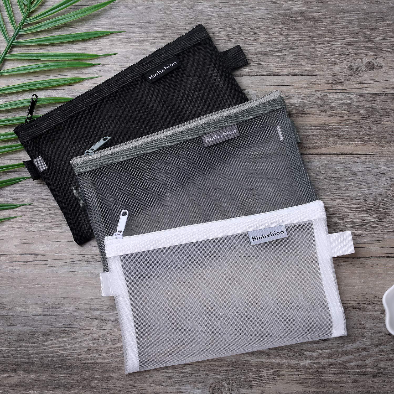 Newspaper Business Receipts Large BoomYou 3 Pieces Zipper File Bags Organizer Mesh Zipper Pencil Case Storage Holder Transparent Paper Document Pouches for Office School Magazine