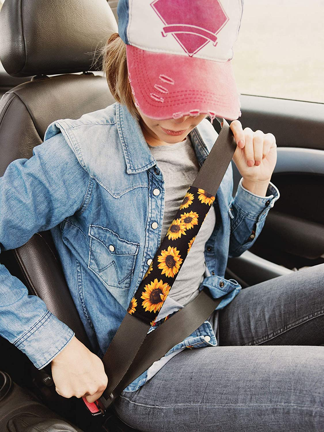 Rear Bench Seat Cover Back Seat Cover Headrest Covers Seat Belt Covers Shoulder Pads for Car Protection Decoration 7 Pieces Sunflower Car Accessories Set
