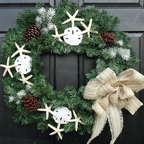Amazoncom Beach Themed Coastal Wreath For Winter Front Door Decor