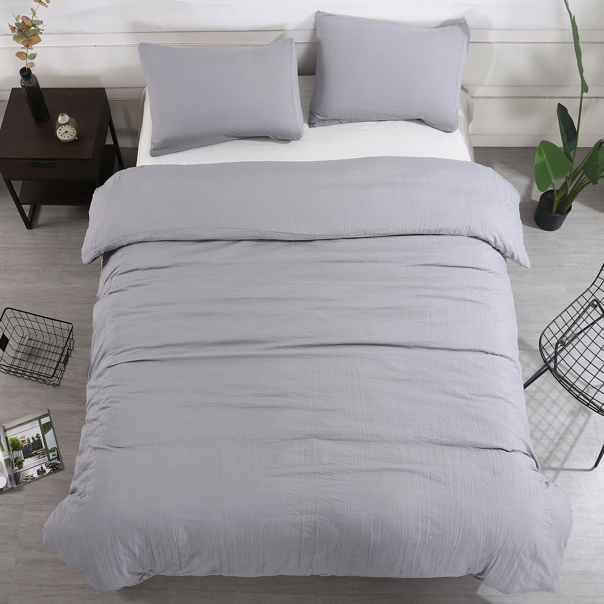 Duvet Cover Set 3 Pieces(2pc Pillowcase and 1pc Duvet Cover King 104''x90''),Grey Natural Wrinkled Look Bedding with Zipper Closure by WAFTING,Lightweight Hypoallergenic Polyester-NO Comforter