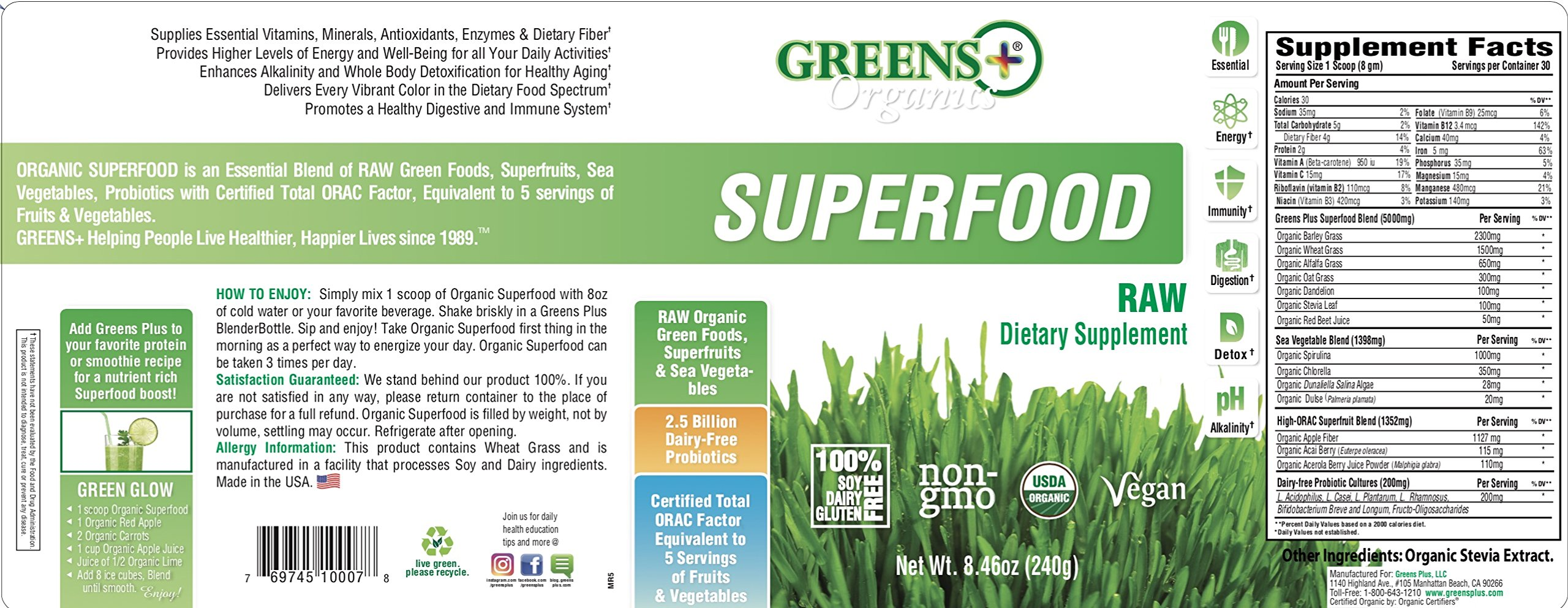 Greens Plus Organics Super-Food Raw | Non GMO | Dietary Supplement Greens Powder - 8.46 Oz