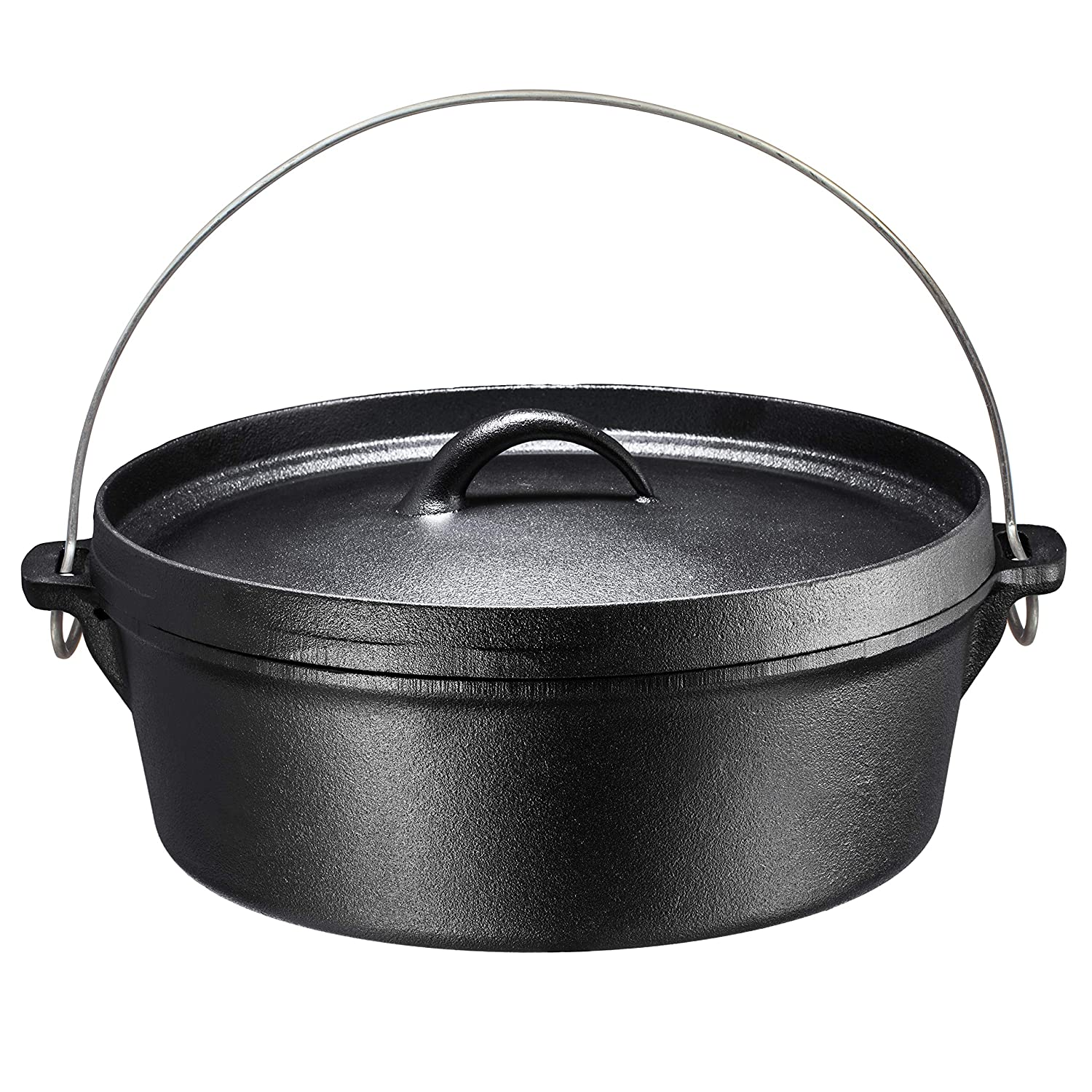 Bruntmor Pre-Seasoned Cast Iron Dutch Oven with Flanged Lid Iron Cover, for Campfire or Fireplace Cooking, Flat Bottom 6-Quart (6 Quart)