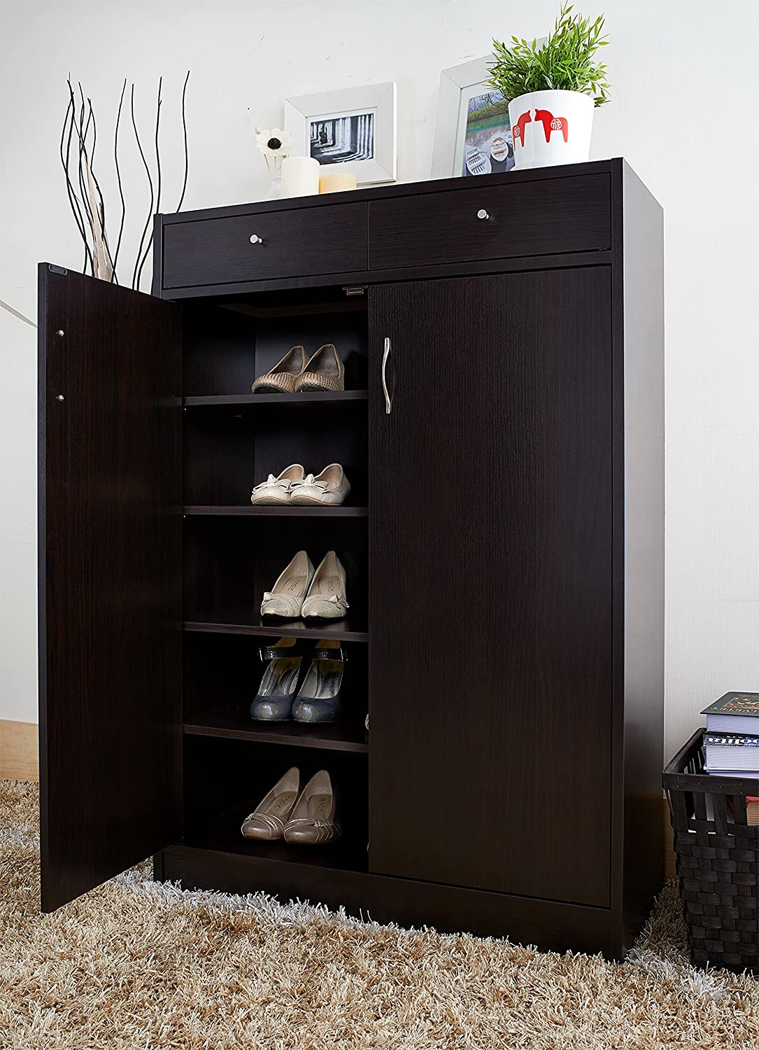 Amazon.com: ioHOMES 5-Shelf Axis Shoes Cabinet with 2-Drawer ...