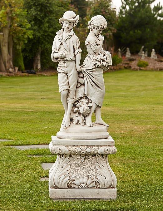 Estatuas de jardín - joven afecto grande Escultura de piedra y Pedestal: Amazon.es: Jardín