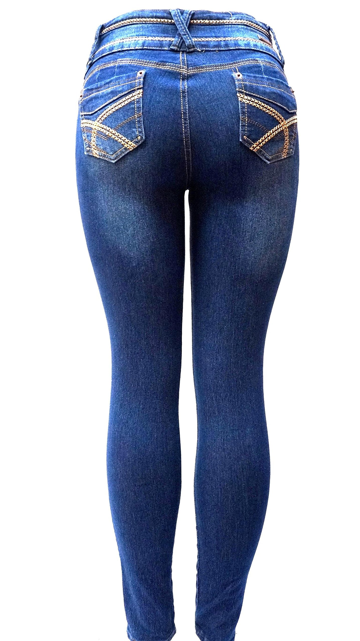DM 1826 Juniors Womens Blue Denim Jeans Destroy Skinny Ripped Distressed Pants (1) by JEANS FOR LOVE (Image #4)
