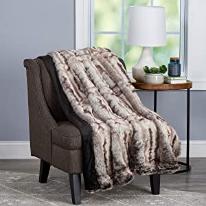 """Bedford Home Throw Luxurious, Soft, Hypoallergenic Premium Chinchilla Fur Blanket with Faux Mink Back and Gift Box, 60""""x70"""", Striped"""
