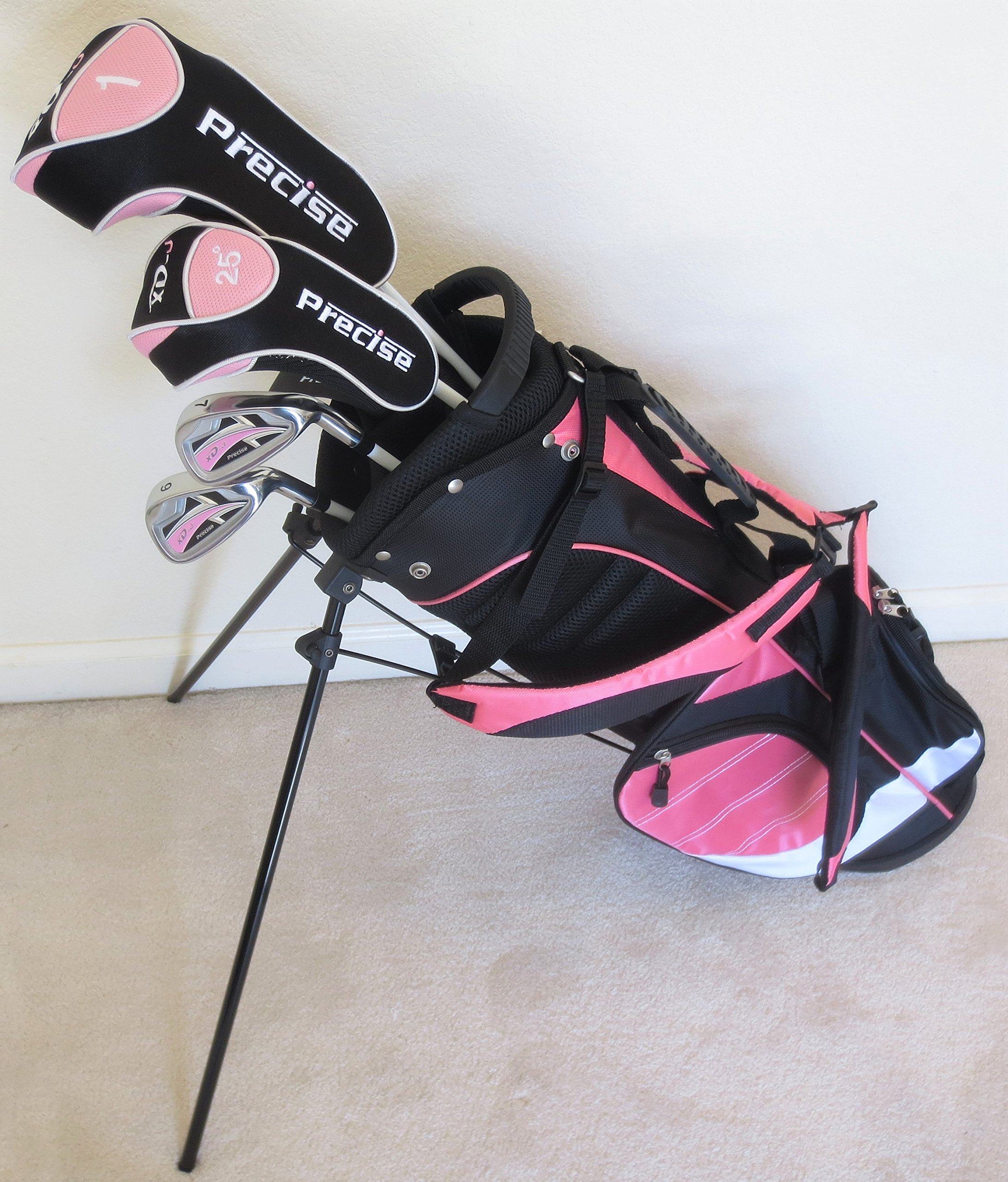 Girls Ages 5-8 Junior Golf Club Set Complete Driver, Hybrid, Irons, Putter, Stand Bag for Kids Pink Color Jr. by Junior Tour Golf Equipment (Image #1)