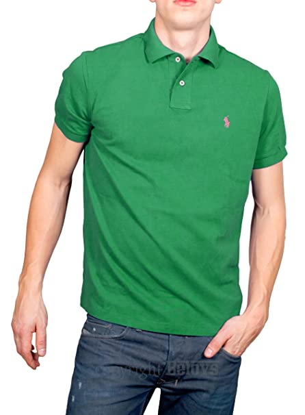 Polo Ralph Lauren - Polo de Base-Tiller Vert Petit Logo Rose Custom Fit - 7cdf63b4db09