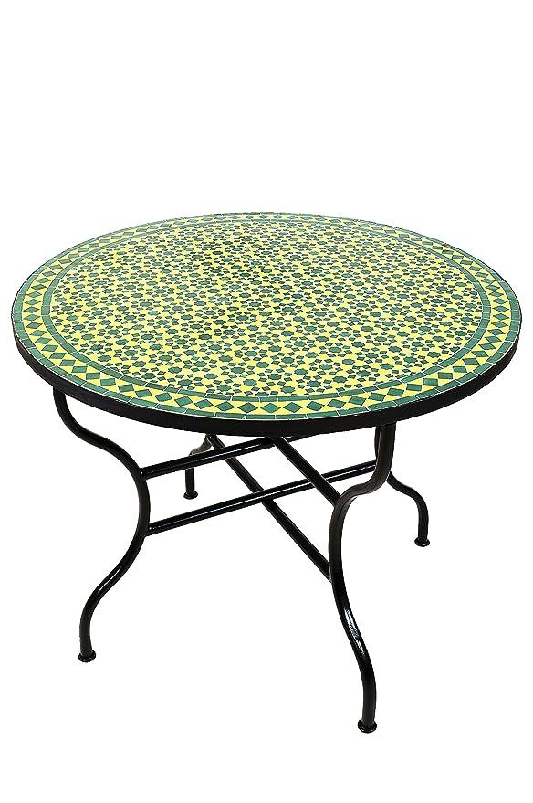 Original marroquí mosaico mesa Jardín Mesa de 100 cm de diámetro ...