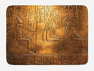 "Lunarable Egyptian Print Bath Mat, Egypt Hieroglyphics Old Logographic Details Alphabetic Elements, Plush Bathroom Decor Mat with Non Slip Backing, 29.5"" X 17.5"", Coffee Brown"