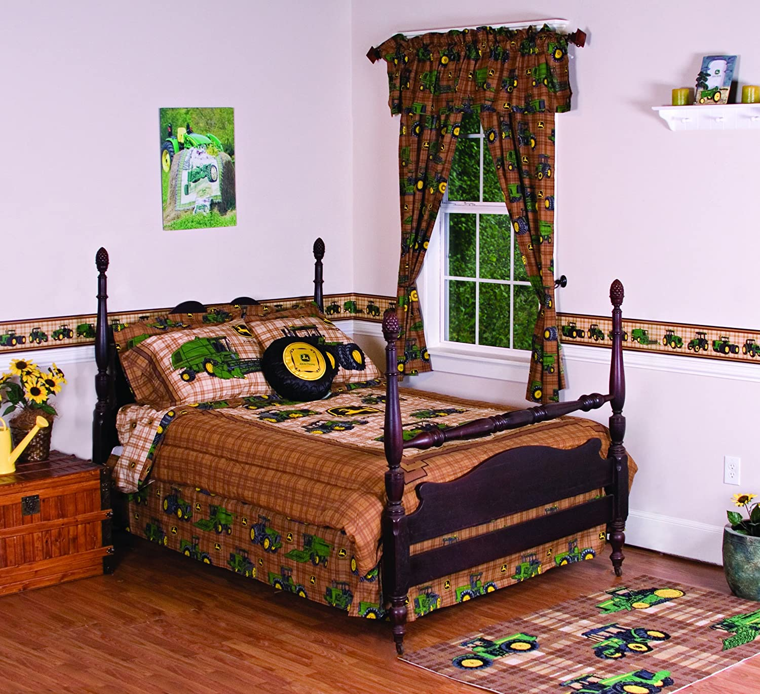John Deere Kitchen Curtains Amazoncom John Deere Bedding Traditional Tractor And Plaid