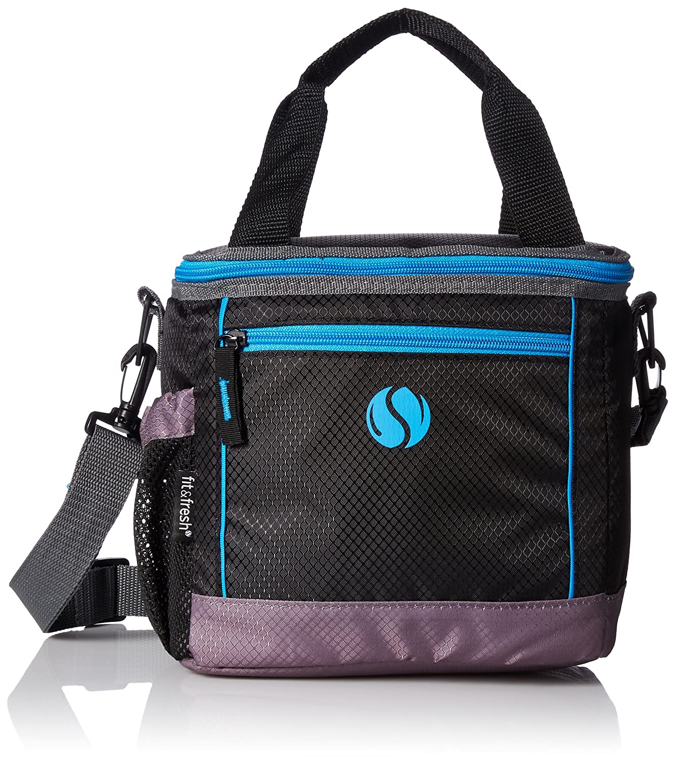 Fit & Fresh 9000FF1836 Sport Insulated Soft Cooler Lunch Bag, Adjustable Straps, Zipper Closure, Black with Blue Trim