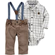 Carter's Baby Boys' 2 Piece Long Sleeve Bodysuit and Suspender Pants Set 6 Months
