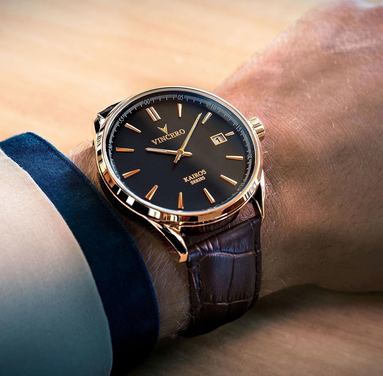 Reloj de Pulsera Kairos de Lujo para Caballero Vincero - Reloj Oro Rosa con Correa de Cuero Marrón - Reloj Analógico de 42mm - Movimiento de Cuarzo Japonés: ...