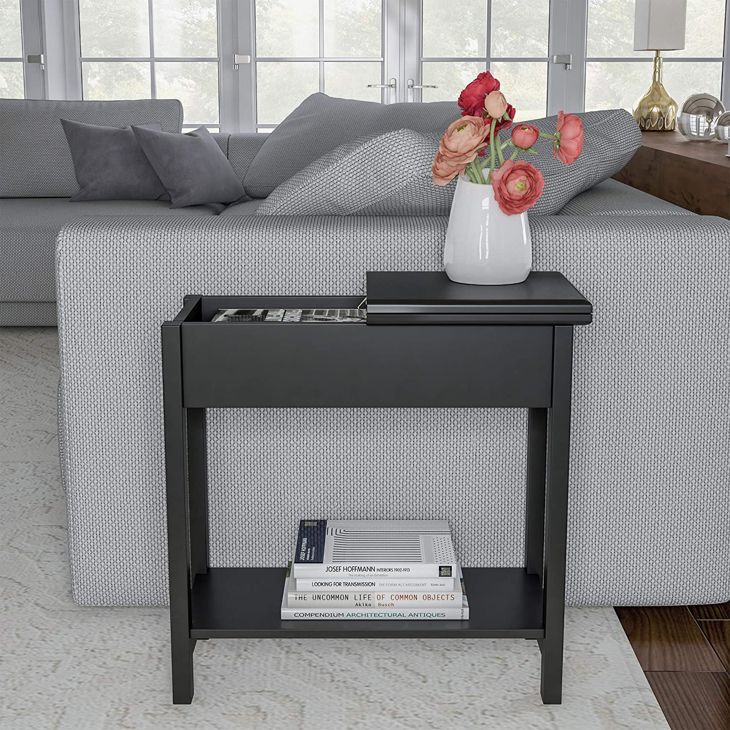 Home Lavish Flip Top End Table-Slim Side Console with Hidden Hinged Storage Compartment and Lower Shelf- for Living Room, Hallway or Entryway