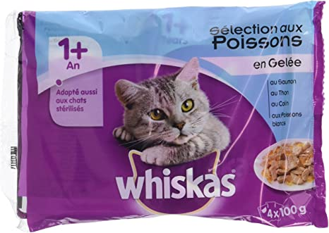 Whiskas - Alimento humedo para gatos, en gelatina (Pescado Blanco ...
