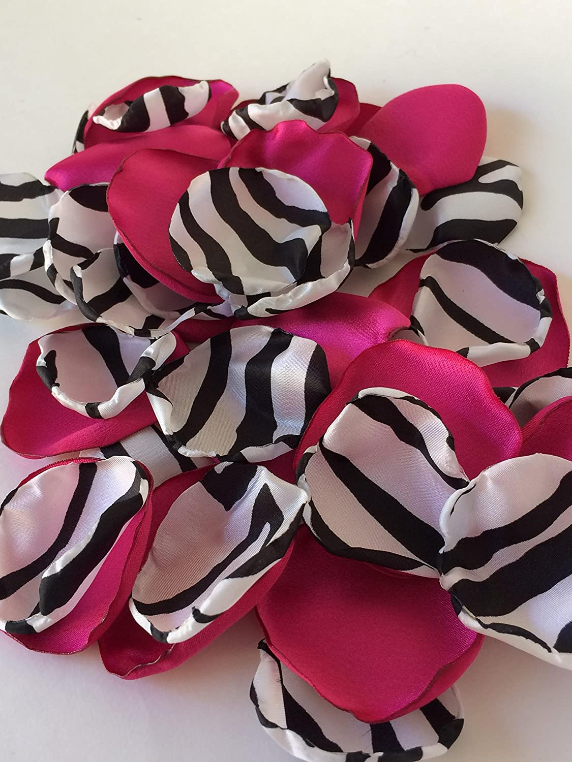 Hot pink and zebra, black and white stripes-Handmade satin fabric flower petals- wedding toss, flower girl, aisle decor, satin petals, bendy blossoms
