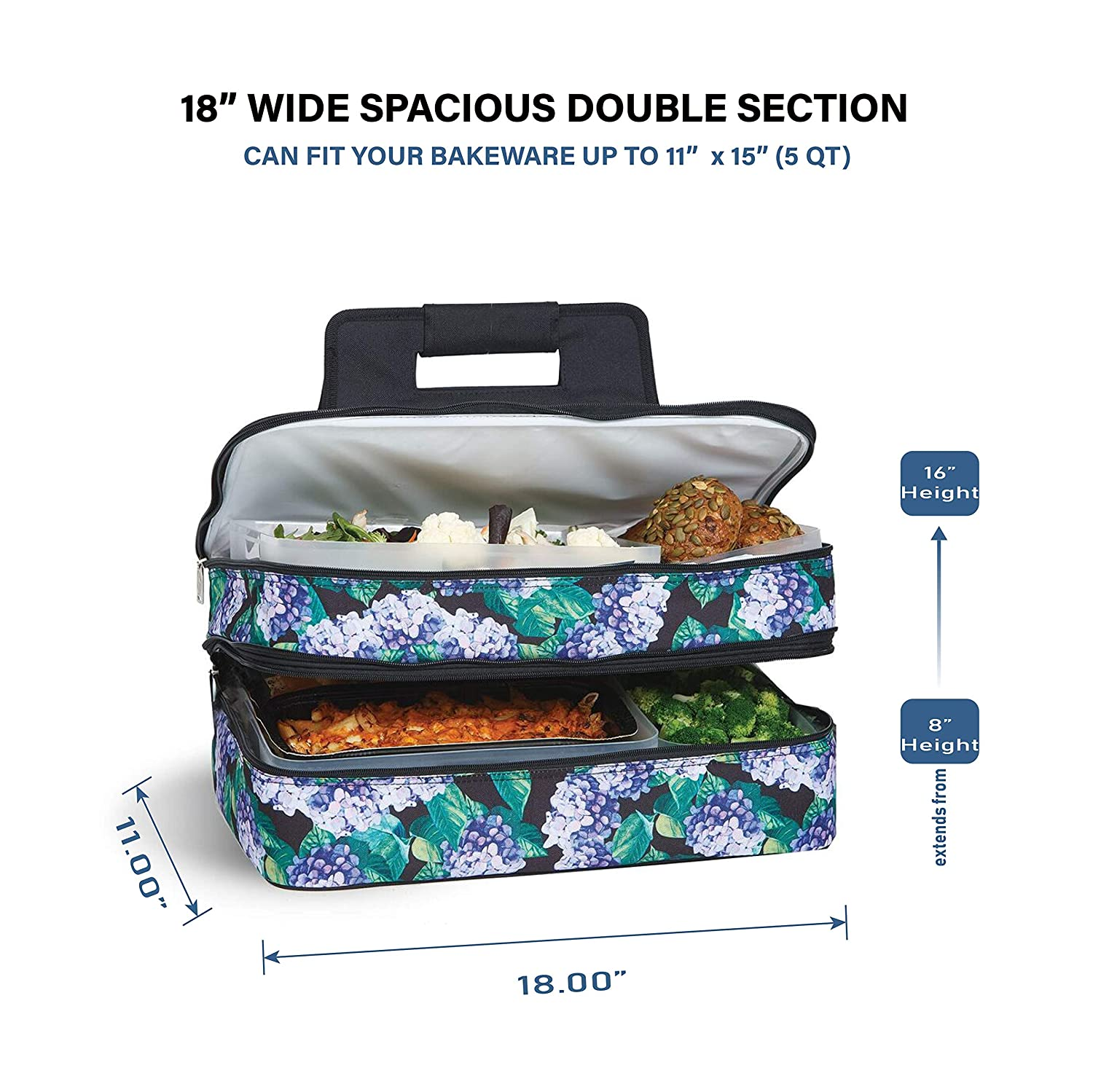 """4aa2a039a956f7 Picnic Plus 18"""" Casserole Carrier 2 Level Thermal Insulated Hot and Cold  Food Carrier Double Layer Food Carrier Bag Potluck Carrier With Bonus  Containers ..."""