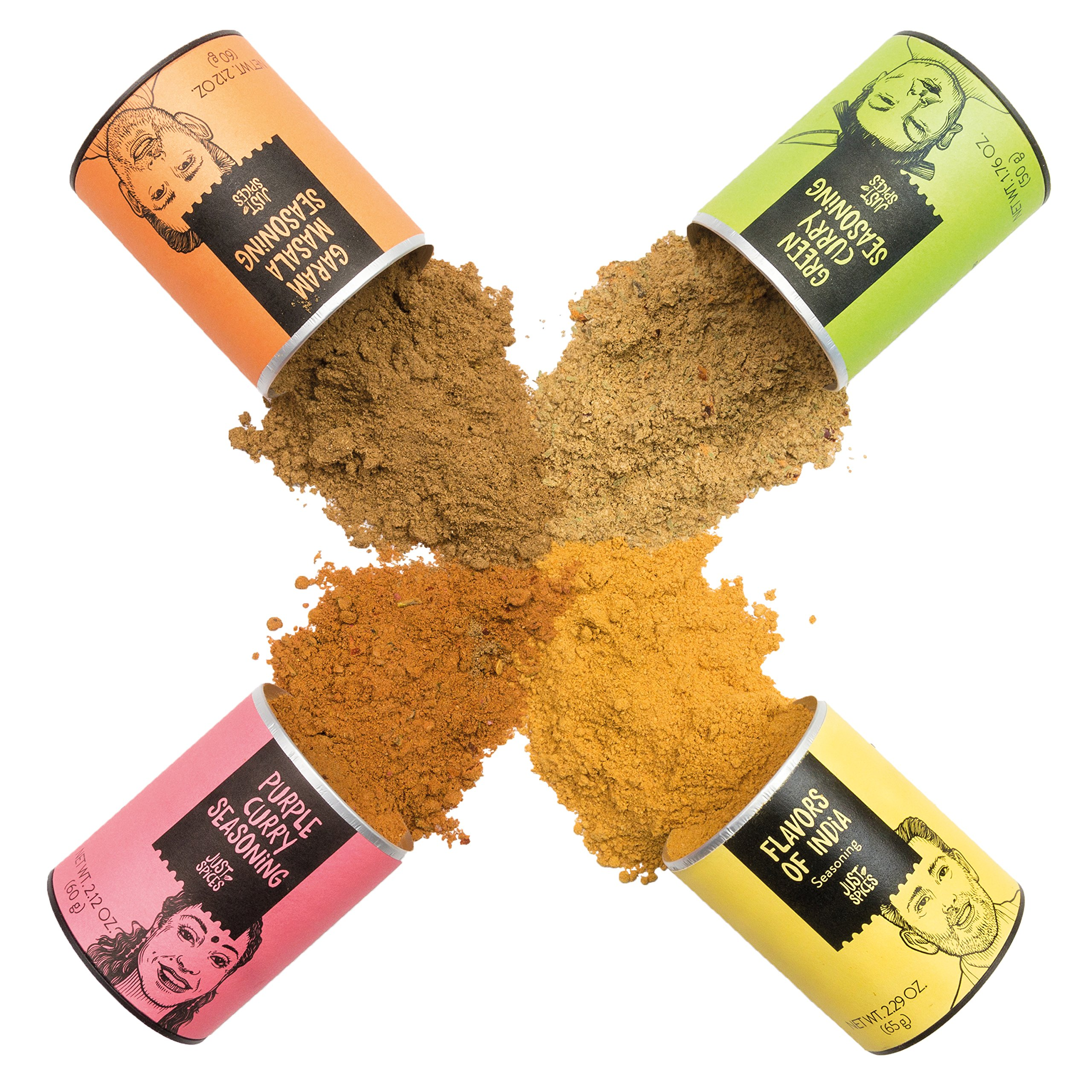 Indian Spices Gift Set | A Variety Box of 4 Essential Seasoning Blends for cooking Indian Food | Including Purple and Green Curry - Garam Masala and the all-rounder Flavors of India