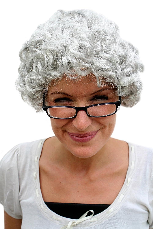 WIG ME UP ® - PW0035-K309 - Peluca GRIS, rizos, abuela, abuelita, señora mayor, anciana, señora mayor: Amazon.es: Juguetes y juegos