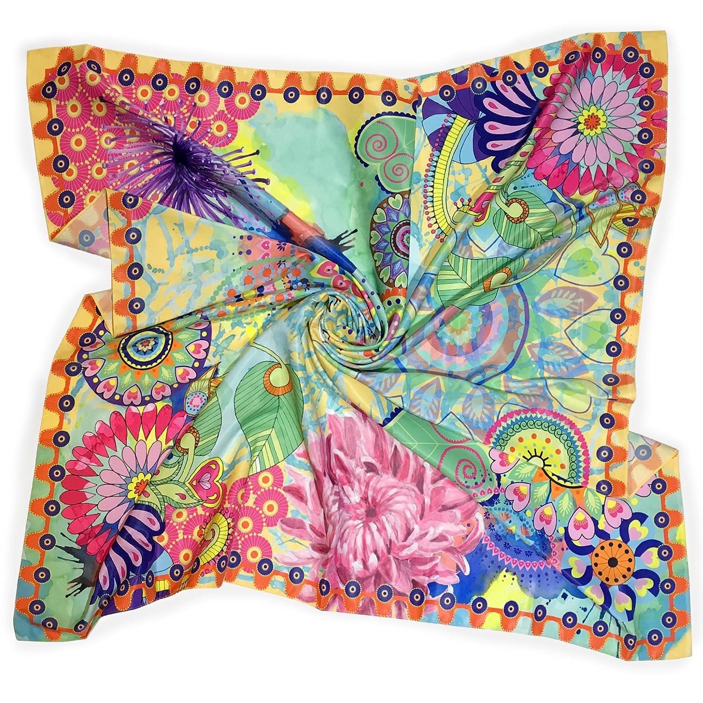 'Fantasy' Yellow color, Premium Spain Silk scarf, size 100x100cm