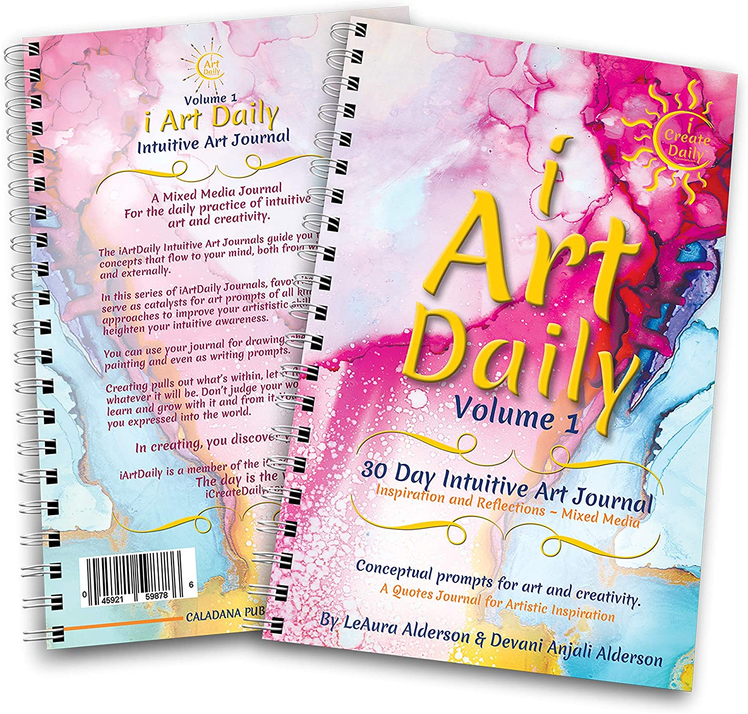 iArtDaily 30 Day Intuitive Art Journal - Volume 1 - Quote Art Prompts for Inspiration, Reflections and Creativity - Mixed Media - Pink Watercolor - i Create Daily