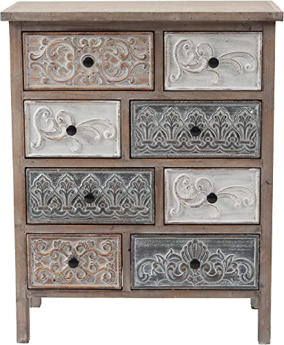 Cheap Luxen Home Rustic Carved Wood 8-Drawer Chest bedroom dresser for sale
