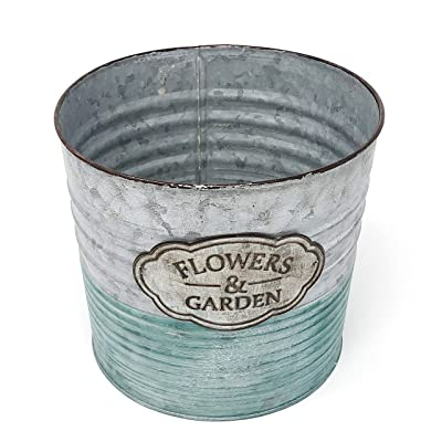 "Allgala 7"" Galvanized Planter Pot Indoor and Outdoor Decoration : Garden & Outdoor"