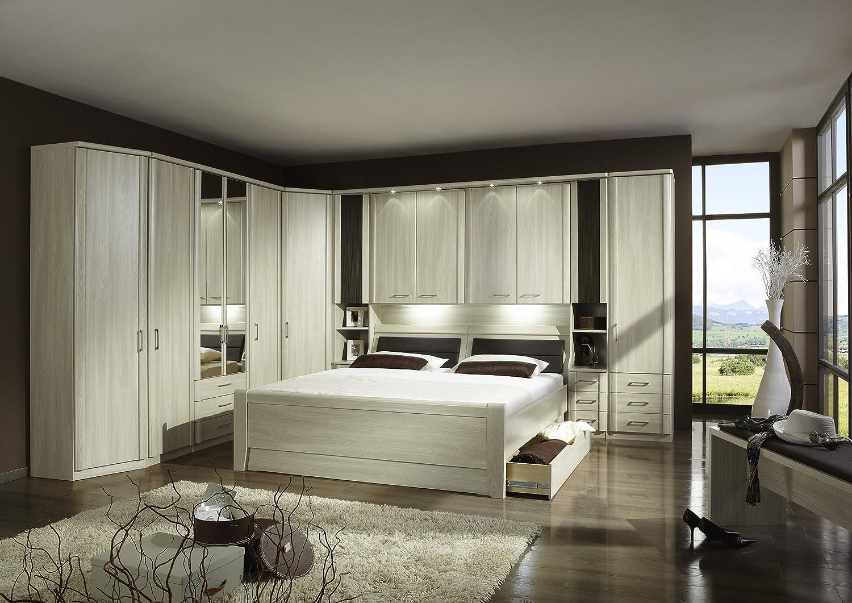 Schlafzimmer mit Bett 180 x 200 cm Edel-Esche Nachbildung Woody 138 ...