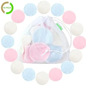 Cotton Rounds Reusable 16 Packs - Reusable Bamboo Makeup Remover Pads for face - Reusable Facial Pads Reusable Facial Cotton Rounds with Laundry Bag (Bamboo Velour, 3 color)