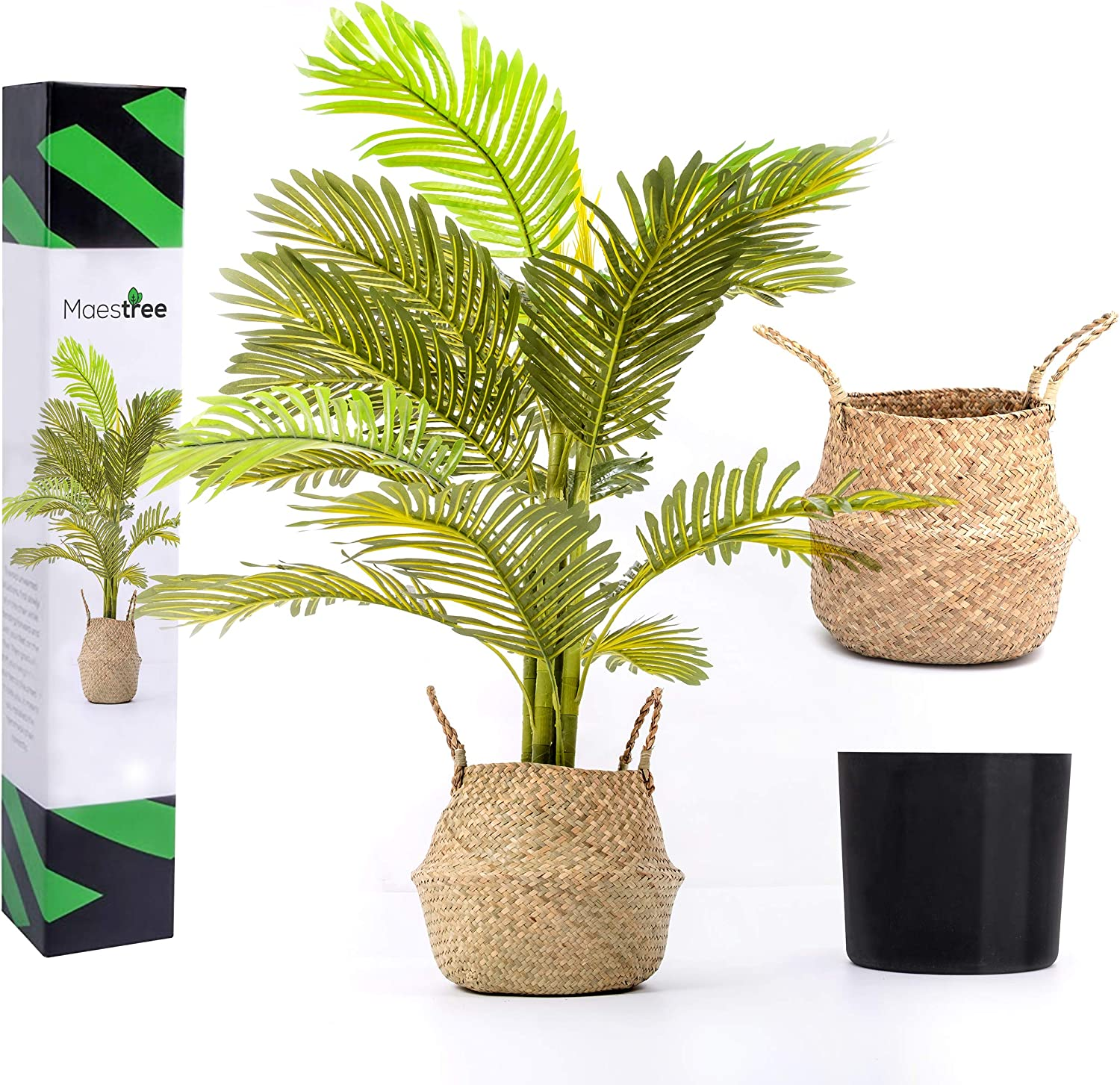 Maestree Faux Palm Tree Artificial Plant   4 Feet Tall Fake Plant with Adjustable Foliage   Fake Tree for Outdoor and Indoor Plants Decor at Home or Office   Seagrass Basket Included