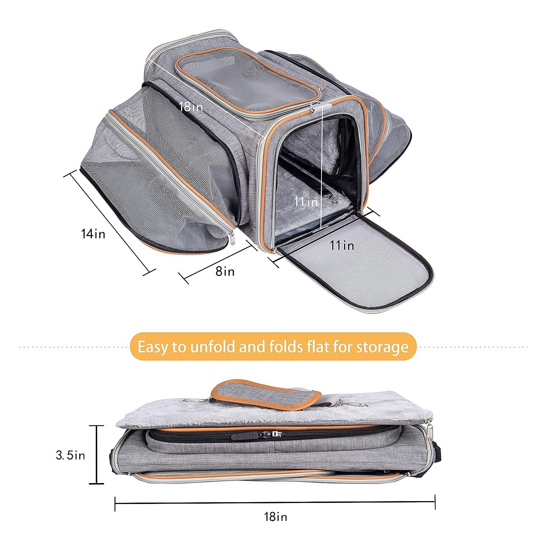 Pet-U Sac de Transport pour Chat et Petit Chien Extensible 2 voies extensible doux c/ôt/é Sac Souple et Pliable pour Voyage en Avion//Voiture//Train 44.5*33*28cm