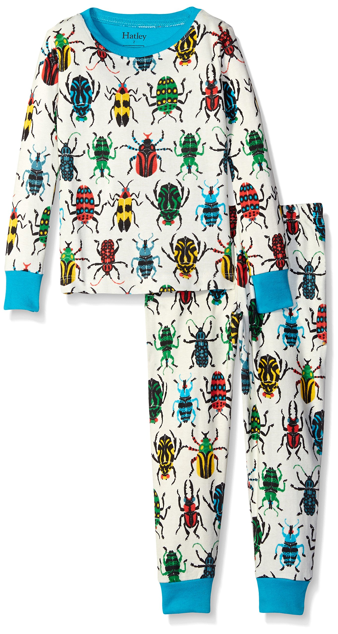 Hatley Little Boys' Jungle Beetles Pj Set, Cream, 2