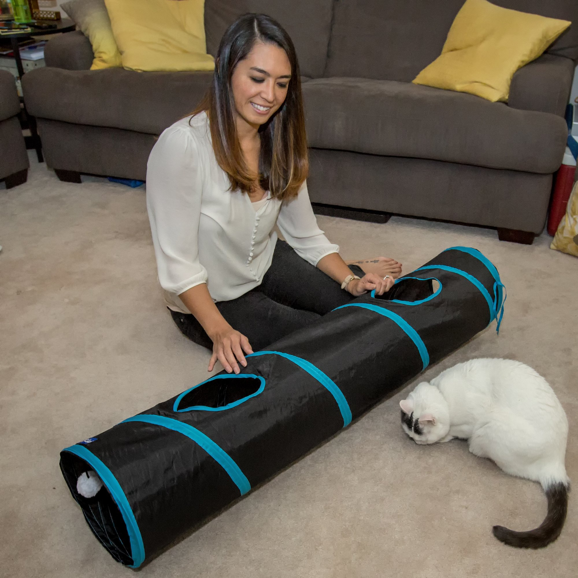 PetLike Deluxe Collapsible Cat Tunnel Toy By Pet Tube For Kittens, Puppies, Rabbits And Other Small-Sized Pets Fun And Durable Hideaway For Entertainment, Training, Exercise And Running by PetLike (Image #8)