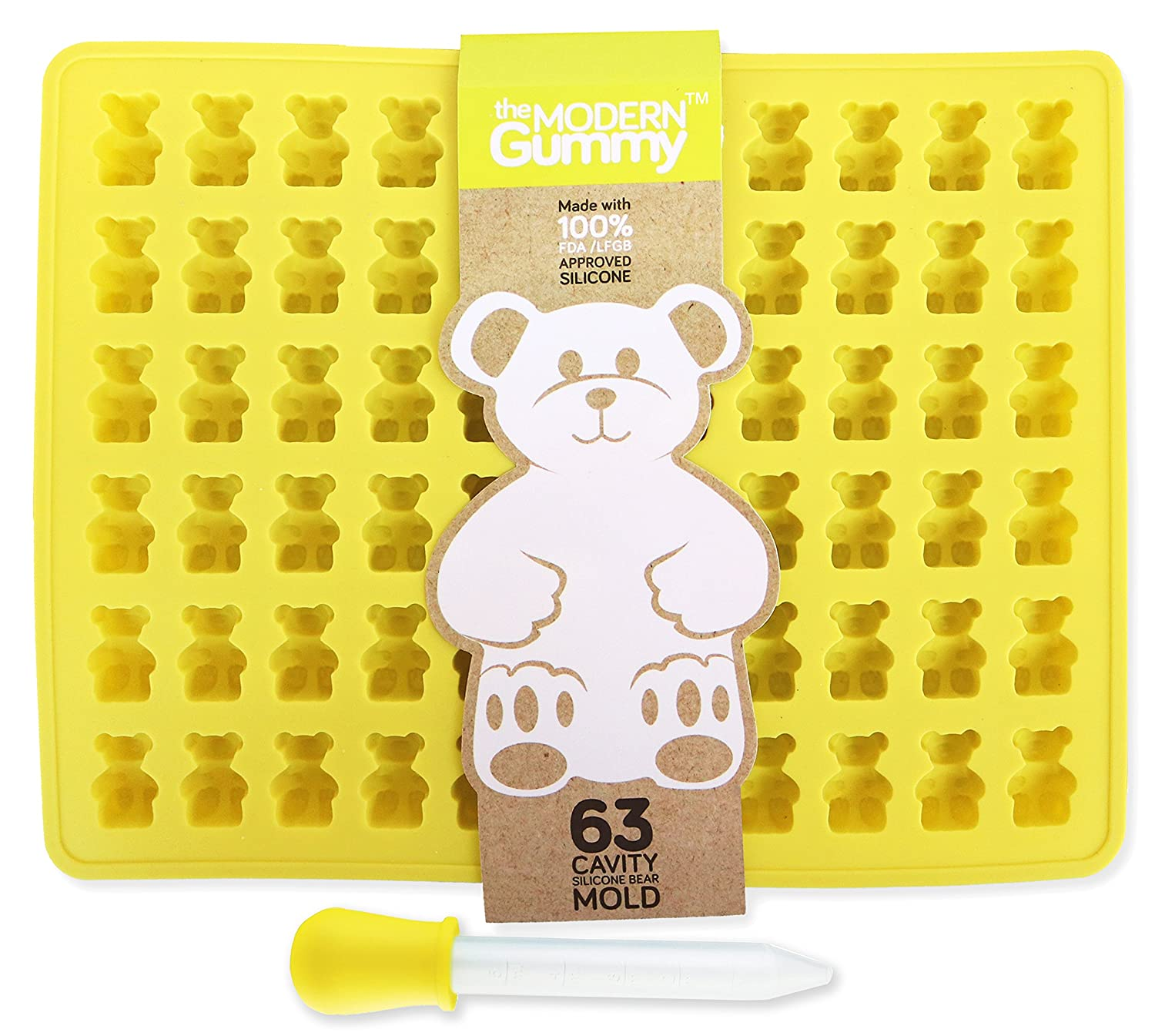 63 Cavity PURE LFGB SILICONE Gummy Bear Mold by The Modern Gummy + Dropper + Recipe PDF | No Plastic Fillers, BPA, or Chemical Coatings; Fruit Snack Candy, ...