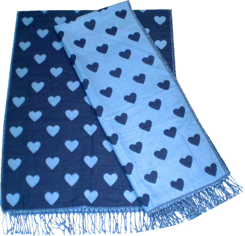 Evil Wear Schals blau Herren Damen XXL-Schal Wende-Schal 2 Farben Poncho Schal blau t/ürkis Herz Herbst Winter Scarfs Deluxe Schals super weich Soft blaues Herz 4834