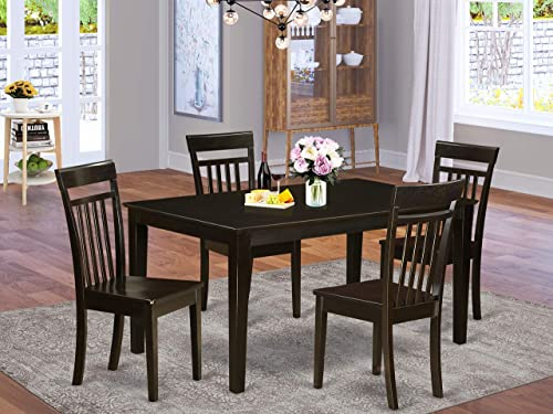 East West Furniture CAP5S-CAP-W Kitchen Set 5 Pc-Wooden Room Chairs Seat-Cappuccino Finish Small Rectangular Dining Table and Frame