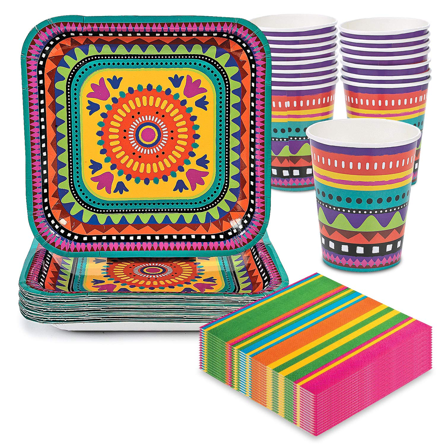 Fiesta Party Pack - Cups, Plates, Napkins - For Cinco De Mayo or Summer Parties - Serves 16 by Live It Up! Party Supplies