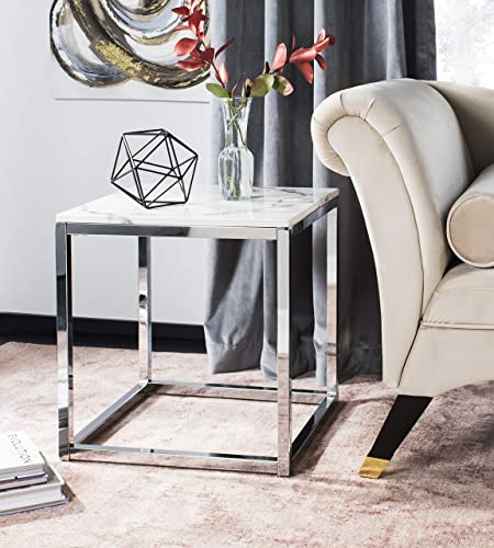 Safavieh Home Bethany Glam White Marble and Chrome Square End Table