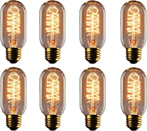 Vintage Edison Bulbs, Rolay 25 Watt T45 Edison Style Square Spiral Filament Incandescent Light Bulbs, 8 Pack