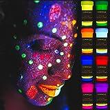 LUMINOUS UV Body Paint - Set of 8 x 20 ml / 0.7 fl oz pots- Black Light Neon Make-Up - Bodypainting Neon Blacklight Bodypain