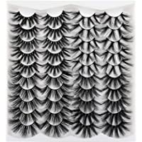25MM Eyelashes Faux Mink, Calphdiar Fluffy Volume 5D False Eyelashes, Long Dramatic Lashes 20 pairs 4 styles