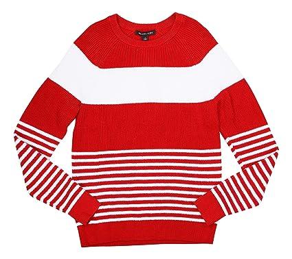 6d8311c2b42d5d Michael Kors Men's Chunky Knit Striped Pullover Sweater (Flame, Medium)