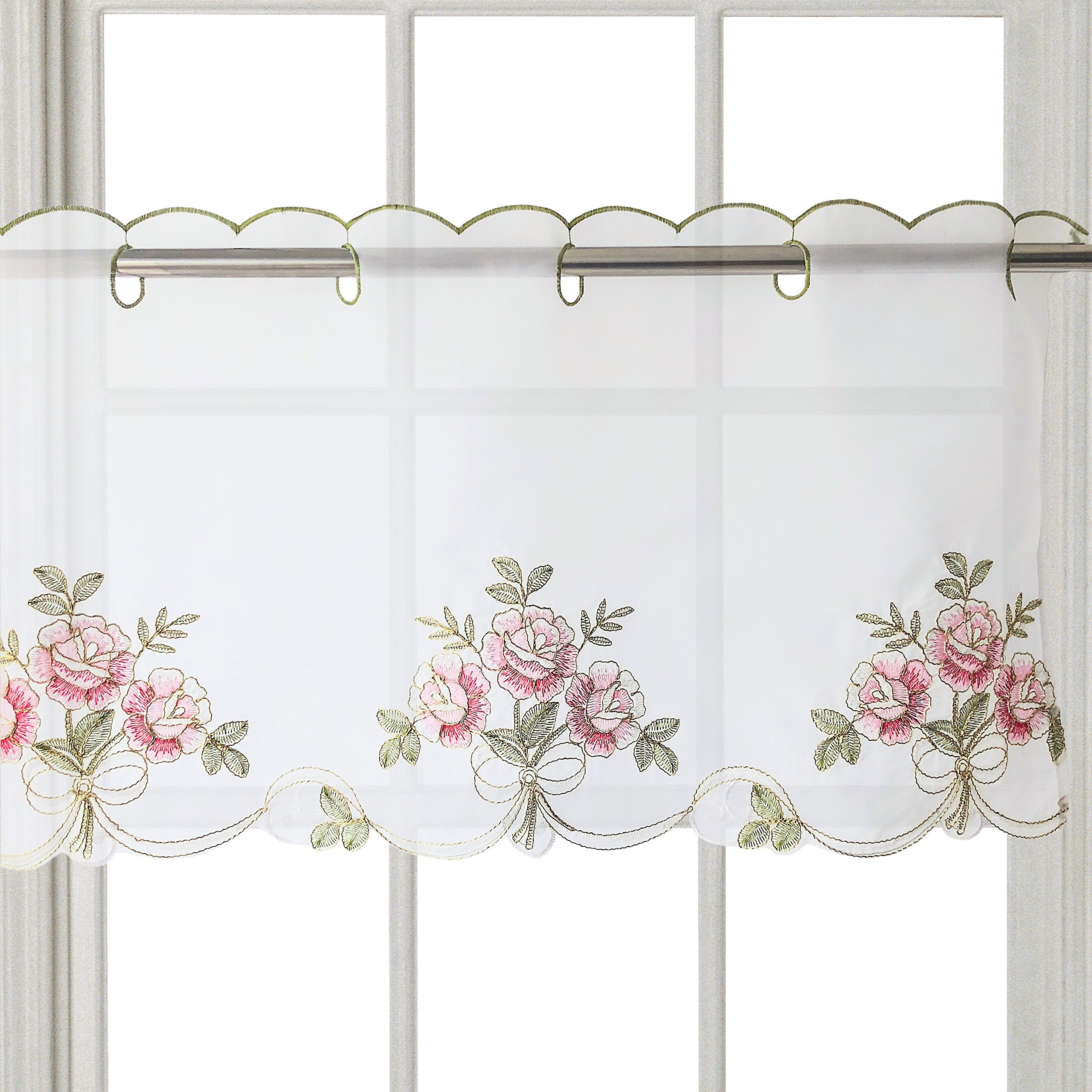 WEMAY Panel Animal Embroidery Pastoral Style Cafe Curtain Kitchen Curtain Floral Window Curtain Valance(Flower W56 X L24 inch 1PC)