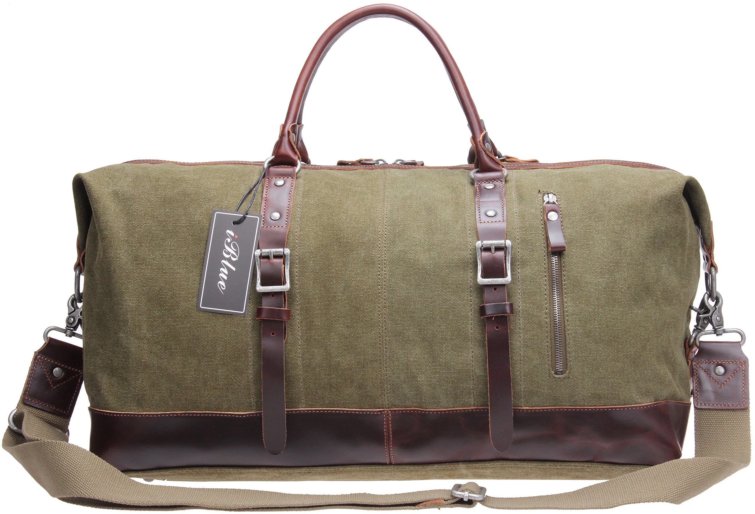 Iblue Overnight Travel Weekend Bag Canvas Leather Carry on Totes Luggage #10190 (Xl, Army Green)