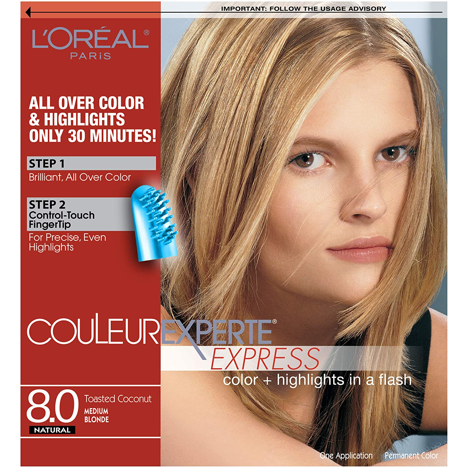 L'Oreal Paris Couleur Experte 2-Step Home Hair Color & Highlights Kit, Toasted Coconut : Chemical Hair Dyes : Beauty