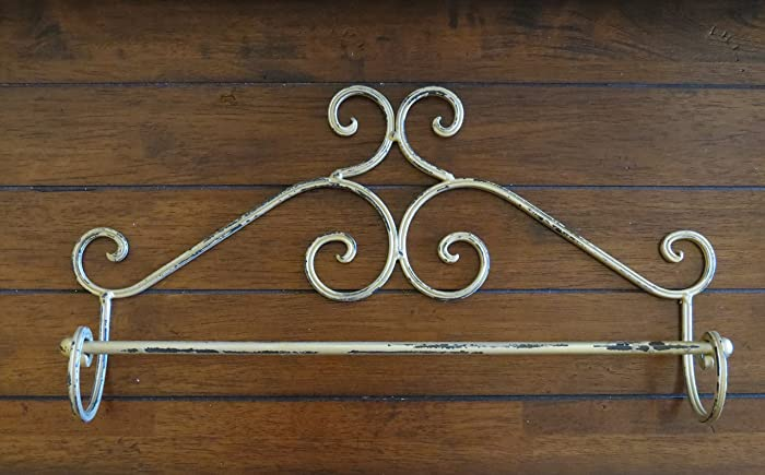 shabby chic metal towel bar antique gold or pick color wall bathroom towel holder