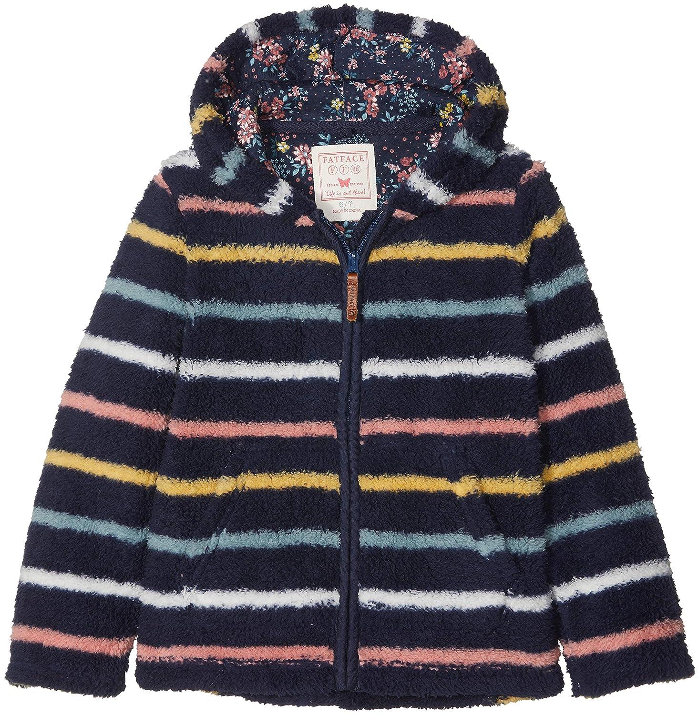 Fat Face Girl's Stripe Zip Thru Fleece Sweatshirt