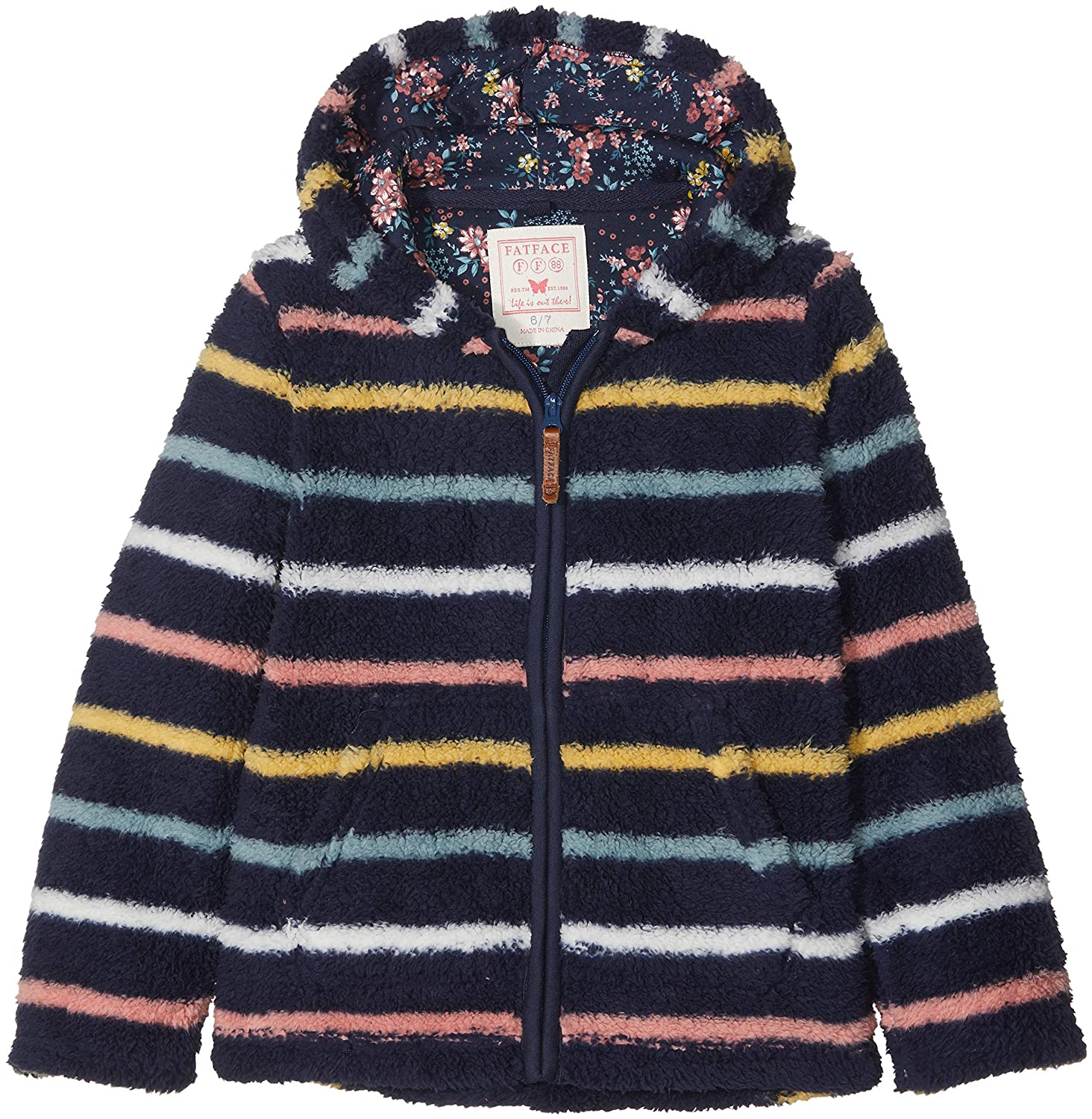 Fat Face Stripe Zip Thru Fleece, Felpa Bambina Blue (Navy Blu) 6-7 Anni 936877